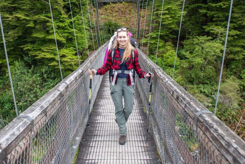 Bailey from My Queenstown Diary on a bridge near Te Anau