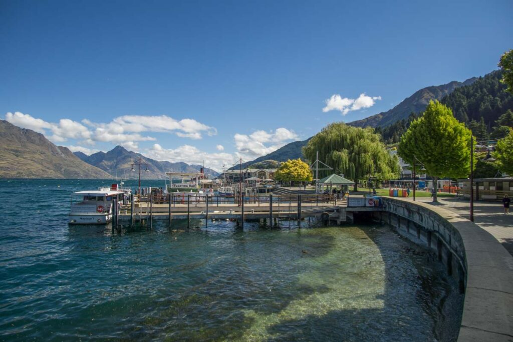 The Wharf in Queenstown, New Zealand in summer
