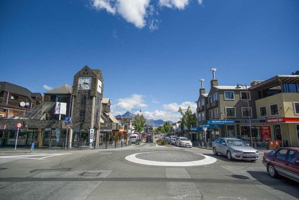 Shotover Street in the heart of Queenstown, New Zealand