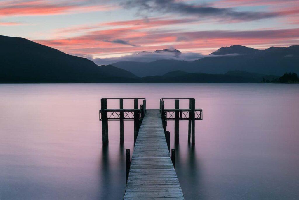 A sunset over Lake Te Anau