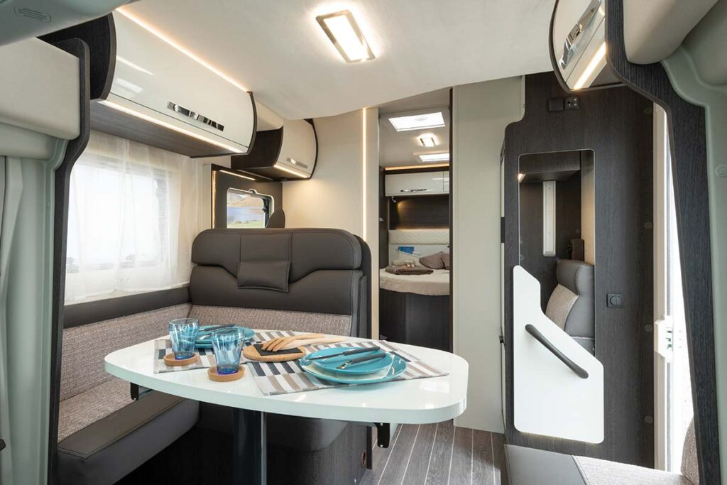 The inside of a large luxurious motorhome in New Zealand