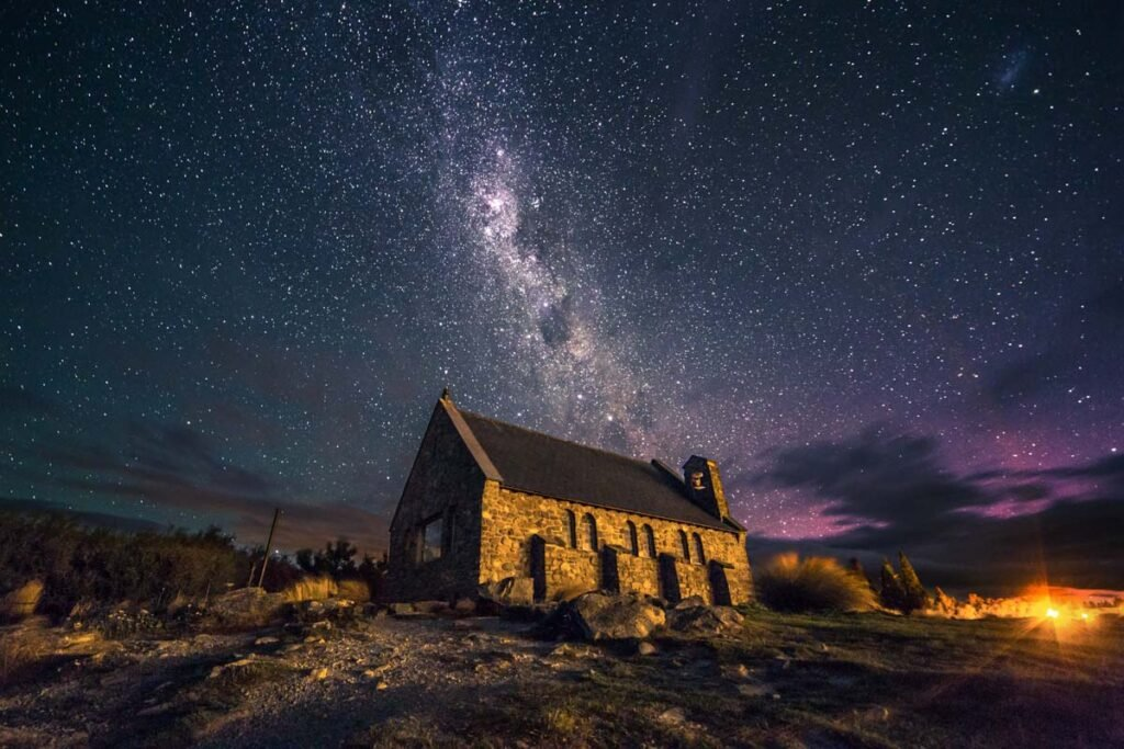 The Church of the Good Shepard at night with the Milky Way