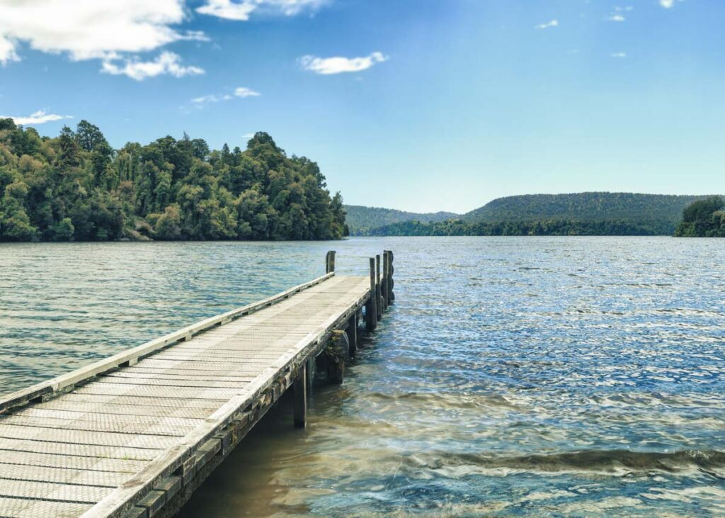 Lake Mapourika jetty near Franz Josef, New Zealand