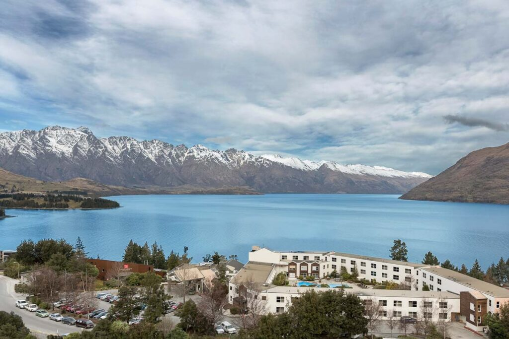 Views of the Mercure Queenstown Resort with Lake Wakatipu in the background