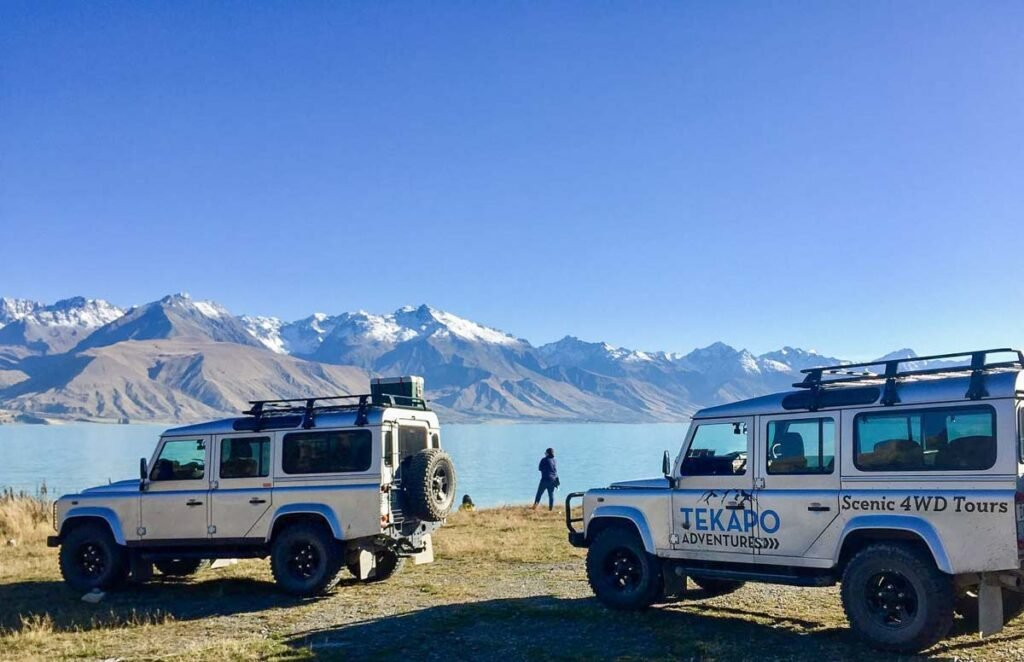 Tekapo Adventures 4wds on the edge of Lake Pukaki on a tour