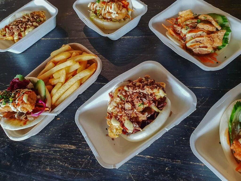 An assortment of meals at Bao Now