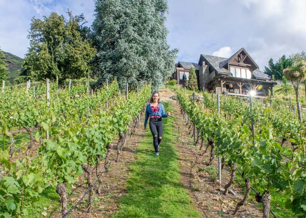 Walking the vines at a vineyard in the Gibbston Valley