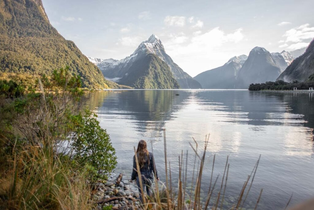 A lady stands on the Milford Sound foreshore