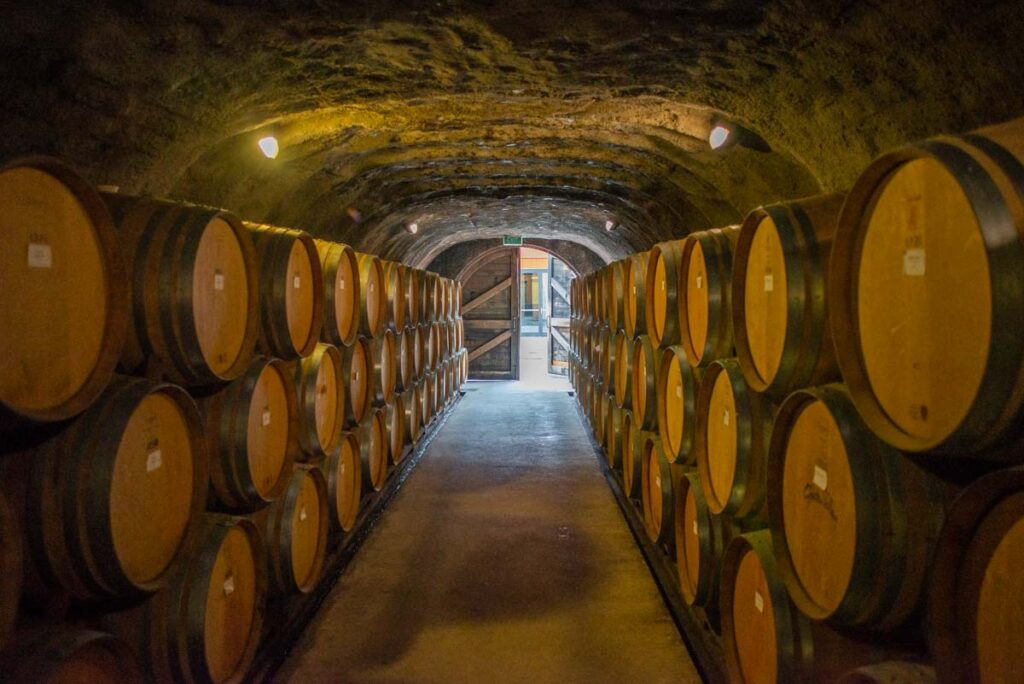 The wine cave at The Gibbston Valley Winery near Queenstown, New Zealand