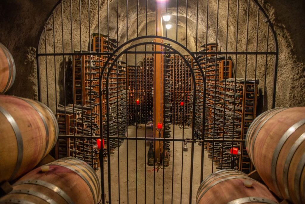 The wine cave at Gibbston Valley Winery