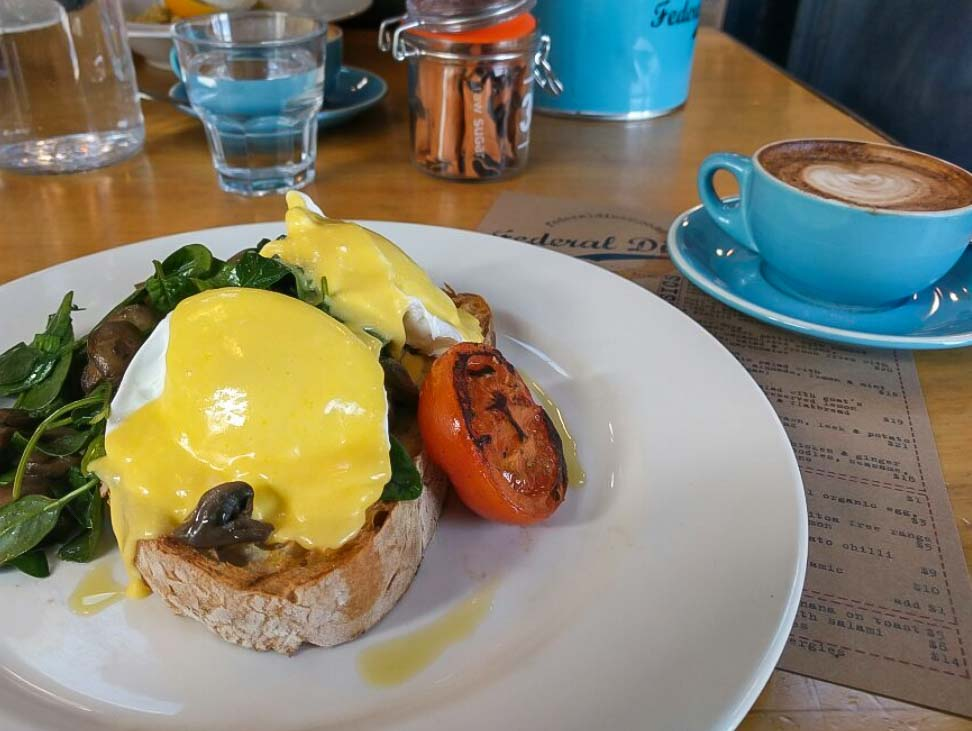 Eggs benedict at the Federal Diner in Wanaka