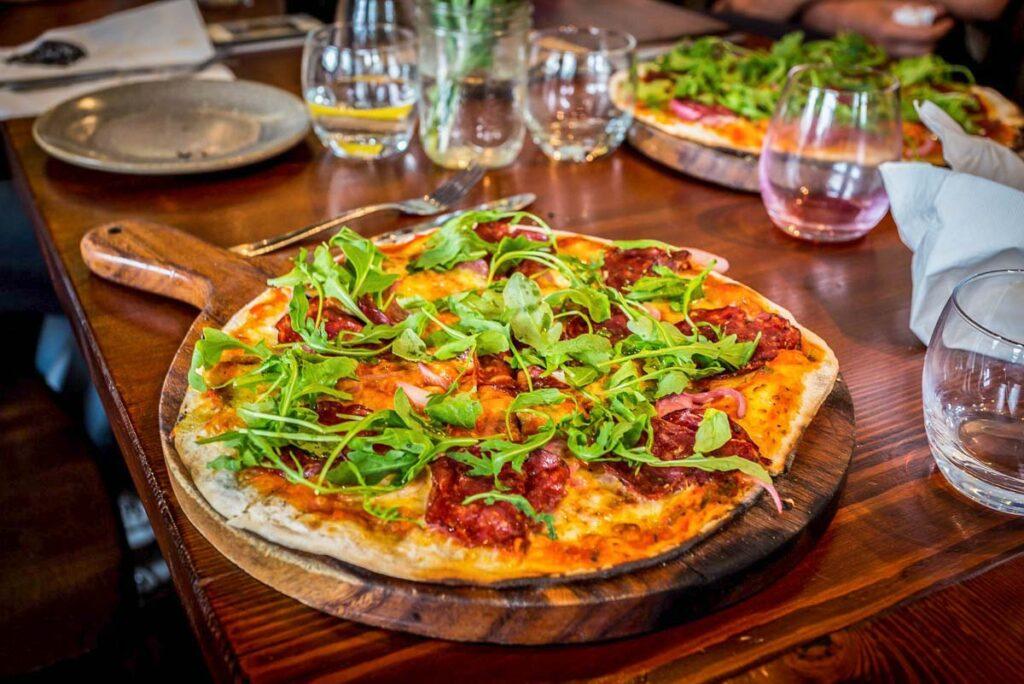 A pizza at Francesca's in Wanaka, New Zealand