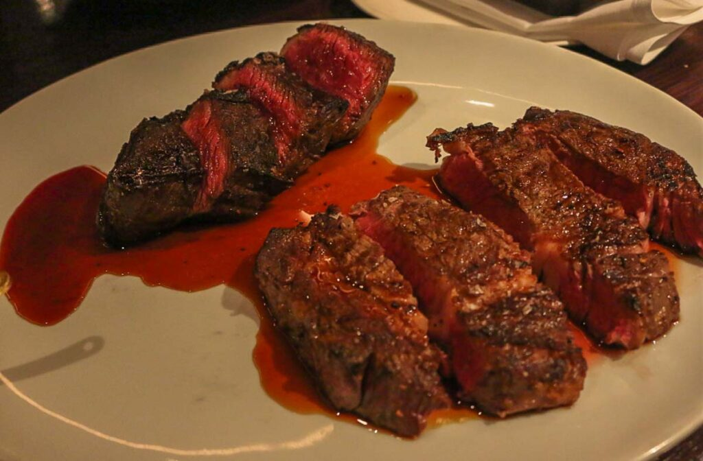 Two steaks at Jervois Steak House in Queenstown, New Zealand