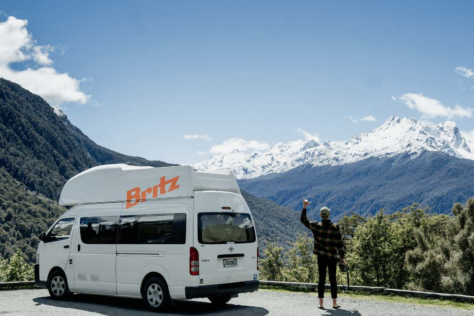 A Britz Campervan on the road to Milford Sound from Queenstown