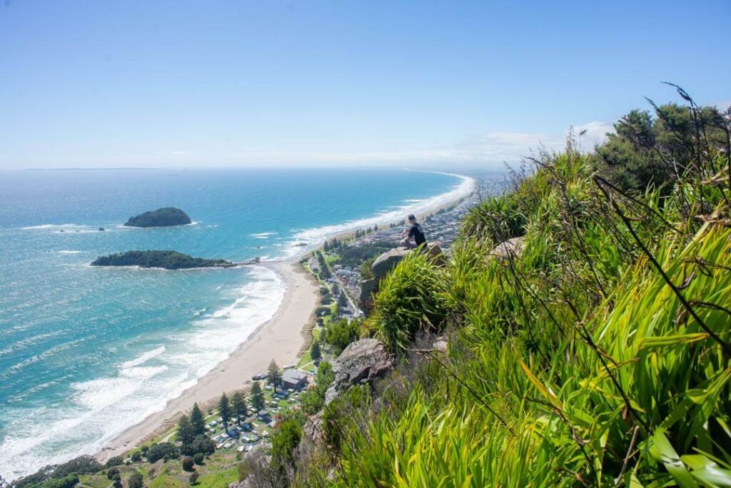 the view from the top of Mount Manganui in New Zealand