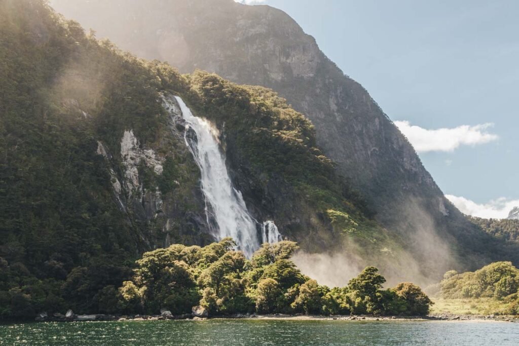 Lady Bowen Falls a seen on  Milford Sound tour from Queenstown