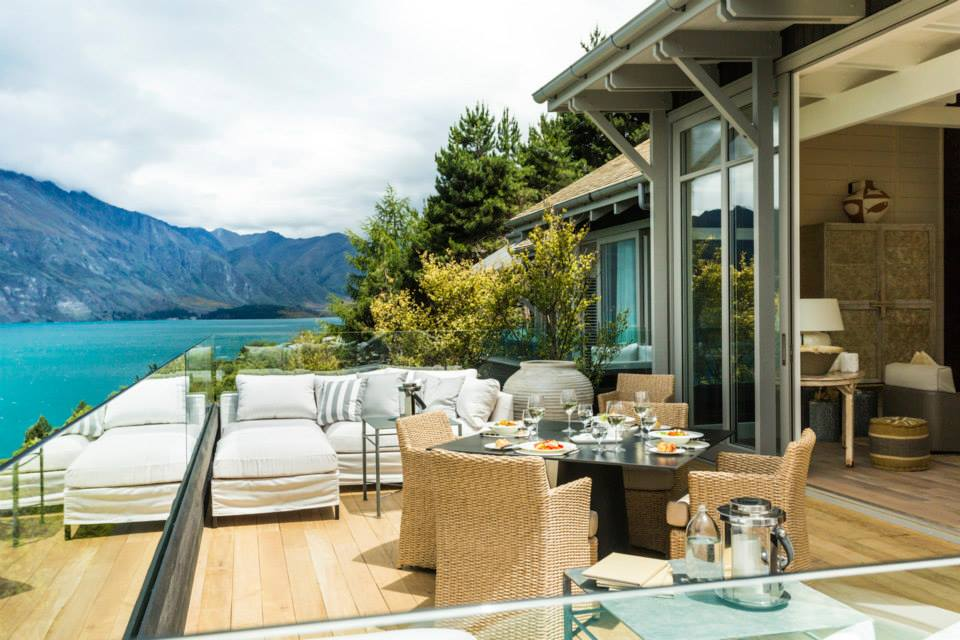 view from the patio at Matakauri Lodge
