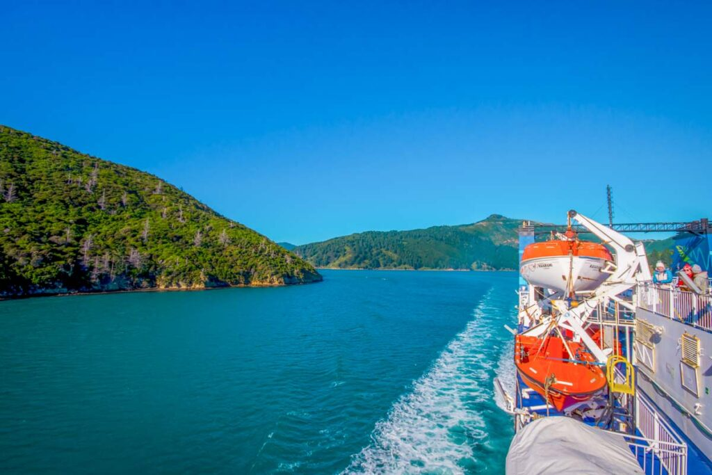 A ferry in Queen Charlotte Sound on a beautiful day traveling from Picton to Wellington, NZ