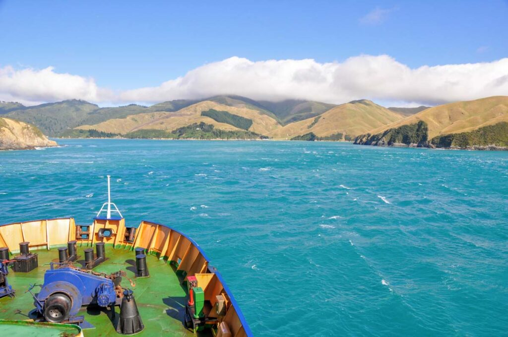 A ferry passes through Queen Charlotte Sound in the Marlborough Sounds during high winds