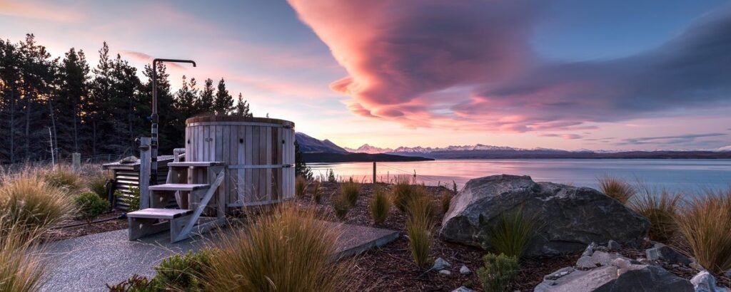 one of the provate hot tubs at Mount Cook Lakeside Retreat