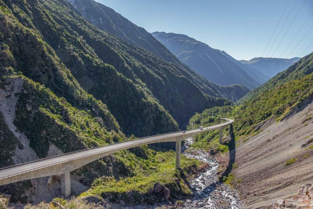 The famous Otira Viaduct Lookout on Arthur's Pass New Zealand