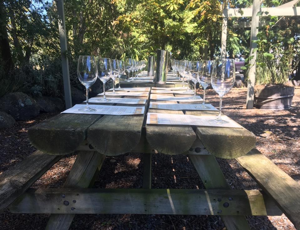 a tasting table setup at Lone Goat Vineyards near Christchurch