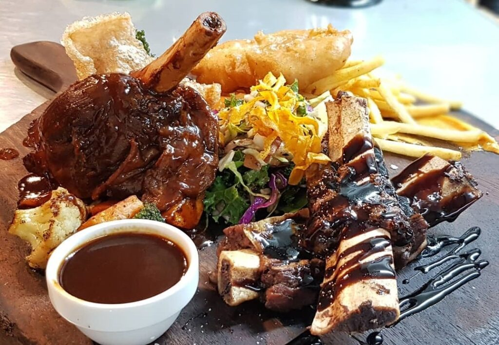 lamb shanks from Blue Eatery & Bar in Lake Teakpo
