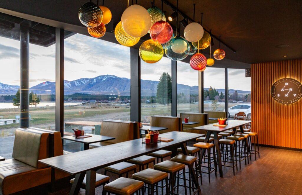 Inside the Dark Sky Restaurant in Lake Tekapo