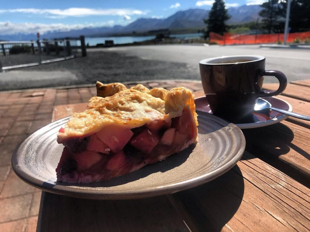 pie and coffee from Jack Rabbit cafe - one of the best restaurants in Lake Tekapo