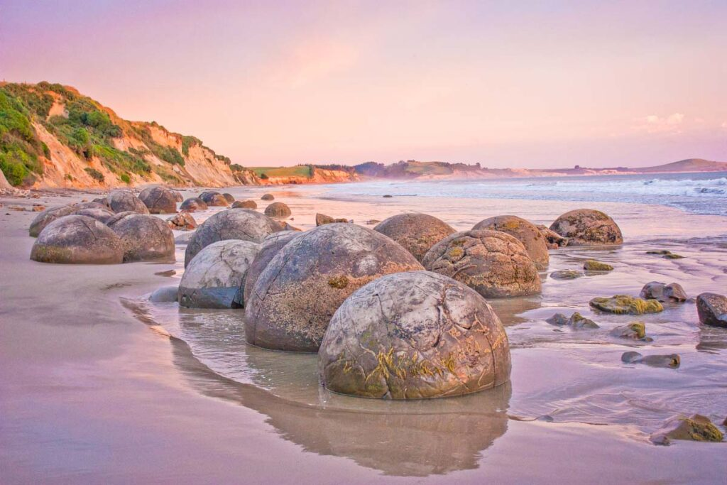 The Moeraki Boulders between Christchurch and Dunedin